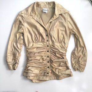 Finley Rouched Gold Metallic Button Down Top Shirt
